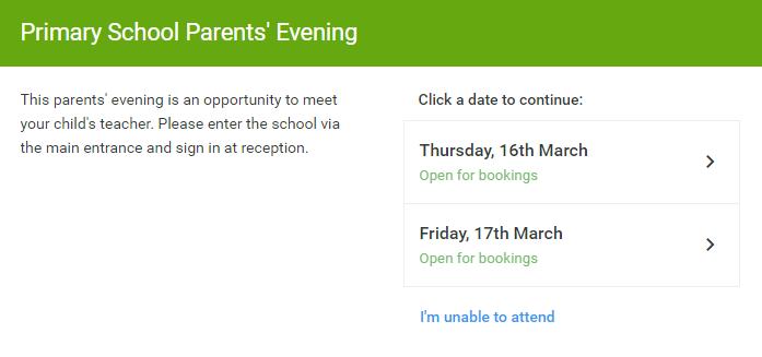 Step 2: Select Parents' Evening