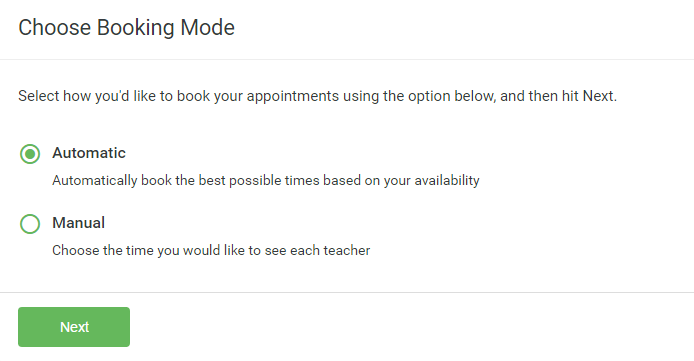 Step 3: Select Booking Mode